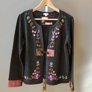 J. Jill Embroidered Lambs Wool Cardigan